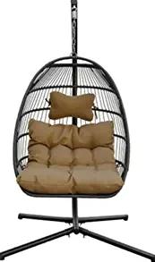 Resin Wicker Espresso Hanging Egg Swing Chair