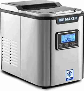 MRP US Portable Ice Maker Stainless Steel Ice Machine