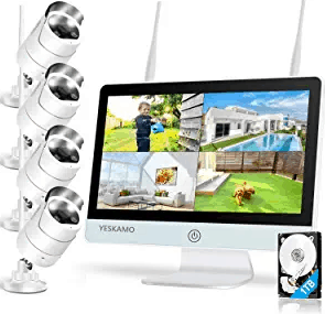 YESKAMO Spotlight WIFI IP Cameras AI Human Detection Wireless Security System