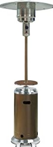 Hiland HLDS01-SSHGT 48,000 BTU Propane Patio Heater with Wheels and Table