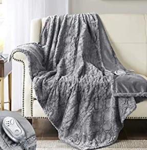 Hyde Lane Faux Fur Electric Throw | Premium Grey 50x60 Soft Electric Blanket