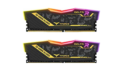 TEAMGROUP T-Force Delta TUF Gaming Alliance RGB DDR4 16GB (2x8GB) 3200MHz (PC4-25600) CL16 Desktop Gaming Memory Ram