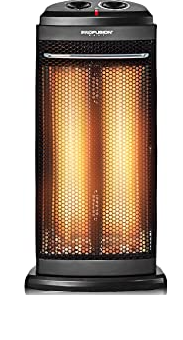 COSTWAY Infrared Heater, 600W/1200W Portable Radiant Tower Infrared Space Heater