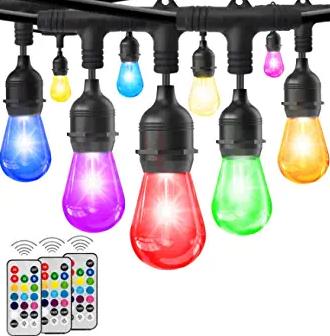 HueLiv 2-Pack 49FT Colored Outdoor String Lights